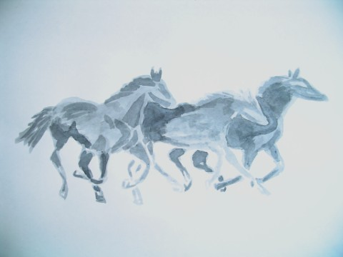 3 Horses galloping art ink wash (ink is washed on no true lines .